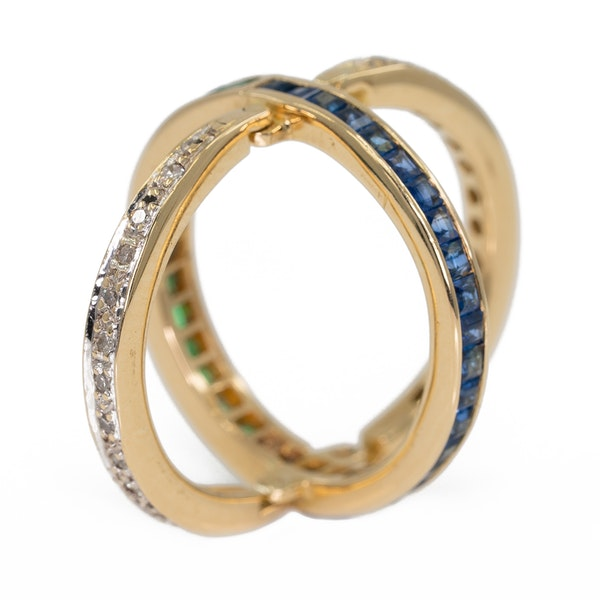 """Flip over """"day/night"""" emerald, sapphire and diamond ring - image 4"""
