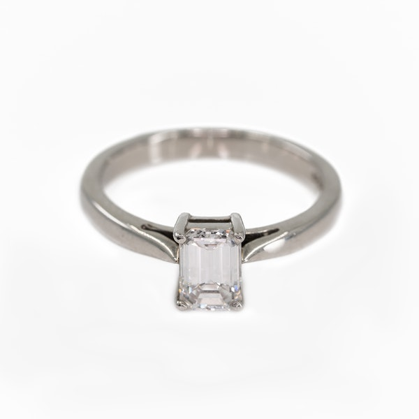 An Emerald Cut Diamond Solitaire Ring - image 1