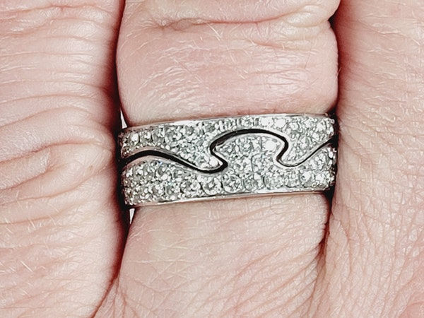Paor of diamond Jorge Jensen 18ct white gold rings sku 5017  DBGEMS - image 2