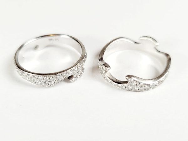 Paor of diamond Jorge Jensen 18ct white gold rings sku 5017  DBGEMS - image 5