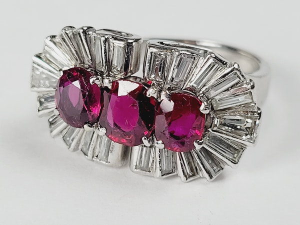 1940's ruby and baguette diamond dress ring sku 5 - image 2
