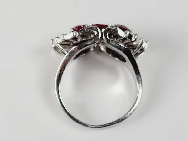 1940's ruby and baguette diamond dress ring sku 5 - image 3