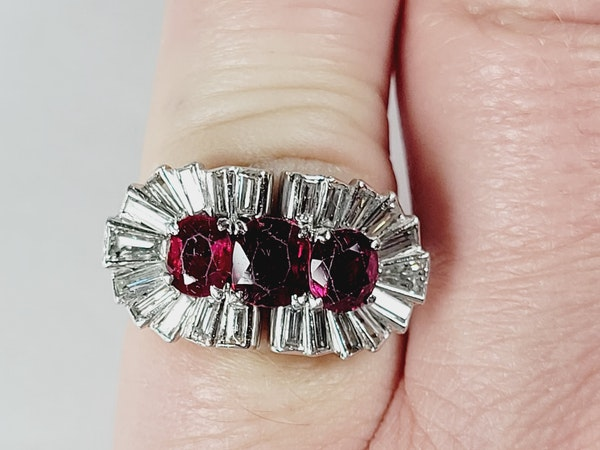1940's ruby and baguette diamond dress ring sku 5 - image 4