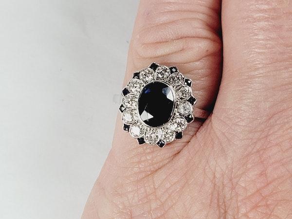 Art deco sapphire and diamond target engagement ring sku 5027   DBGEMS - image 4