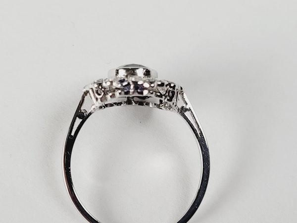 Art deco sapphire and diamond target engagement ring sku 5027   DBGEMS - image 3