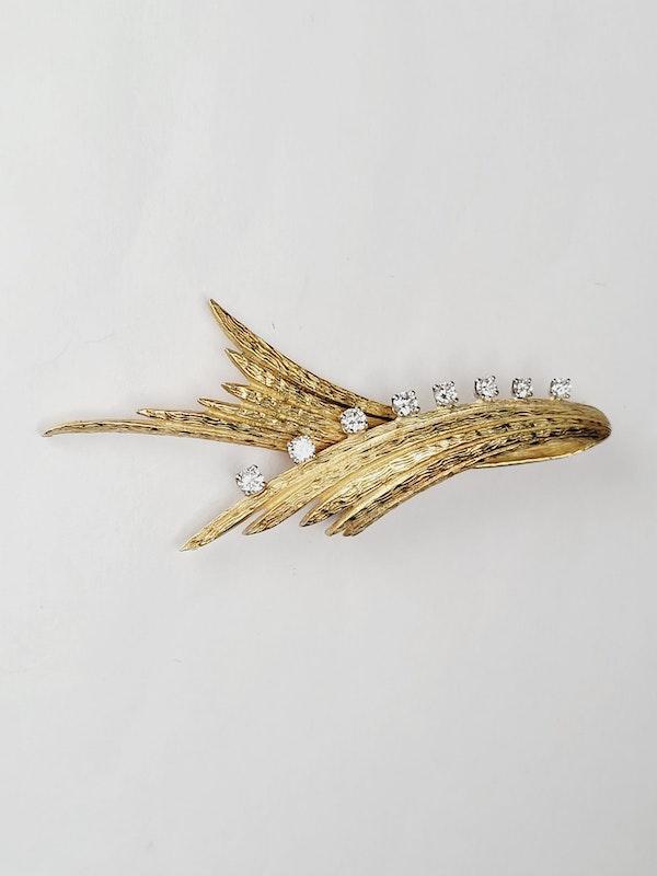 Stylish 1960's 18ct gold and diamond brooch sku 5023  DBGEMS - image 2