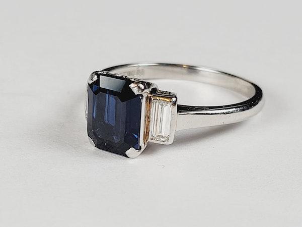 Art deco sapphire and diamond engagement ring sku 50 - image 2