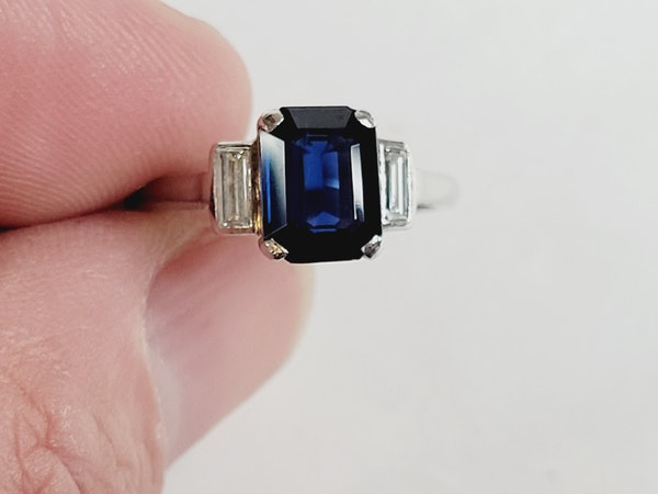 Art deco sapphire and diamond engagement ring sku 50 - image 4
