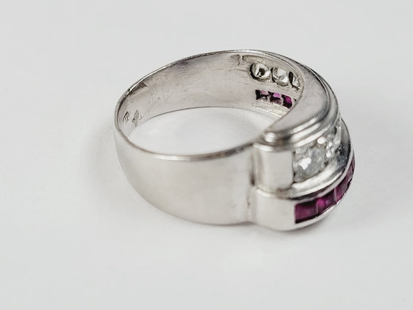 1930's ruby and diamond asymmetric dress ring sku 5025  DBGEMS - image 3