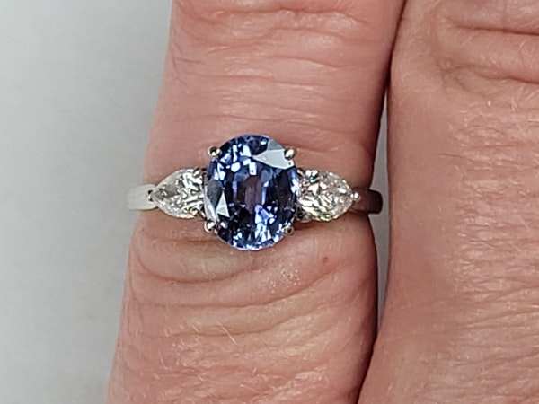 Cornflour blue sapphire and pear diamond engagement ring sku 50  DBGEMS - image 3