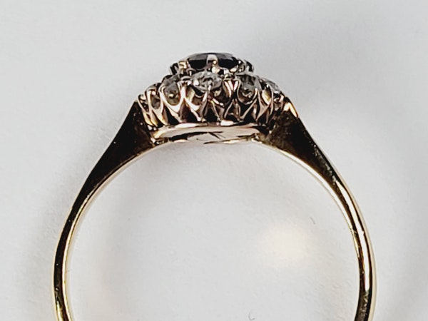 Antique sapphire and diamond engagement ring sku 50  DBGEMS - image 3