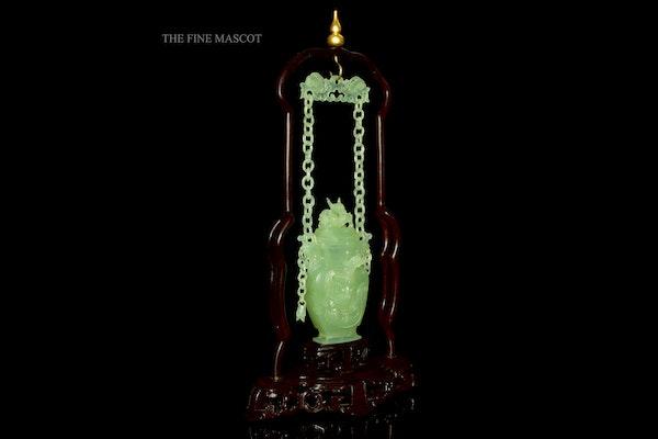 Fine quality carved jade hanging perfume vase - image 1