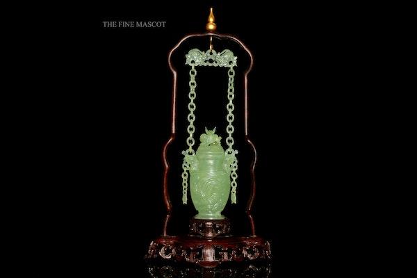 Fine quality carved jade hanging perfume vase - image 2