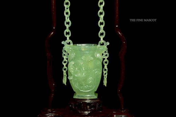 Fine quality carved jade hanging perfume vase - image 6