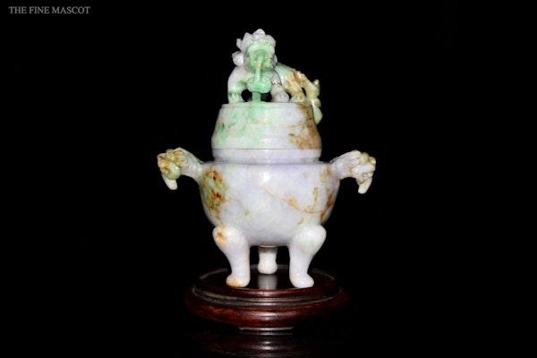 Antique lavender jade carved oil censer - image 1