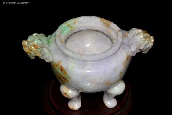 Antique lavender jade carved oil censer - image 5