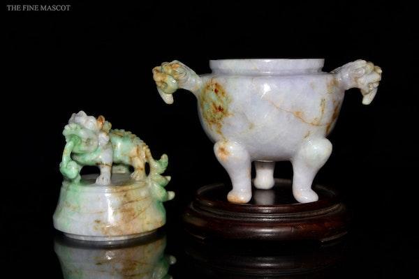 Antique lavender jade carved oil censer - image 6