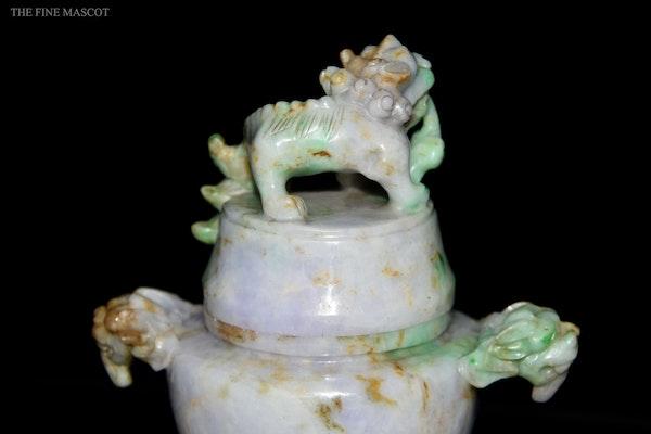 Antique lavender jade carved oil censer - image 8