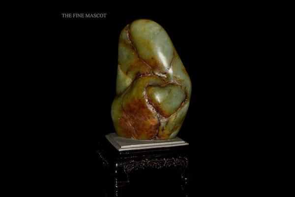 River jade boulder on wooden stand - image 2