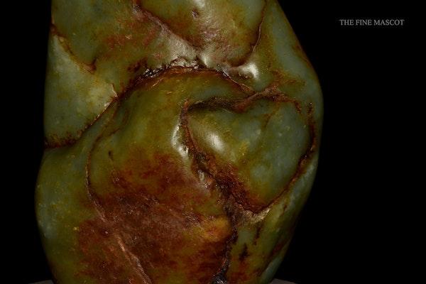River jade boulder on wooden stand - image 3