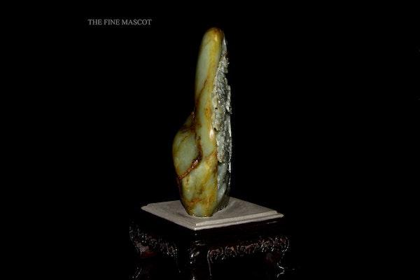 River jade boulder on wooden stand - image 4