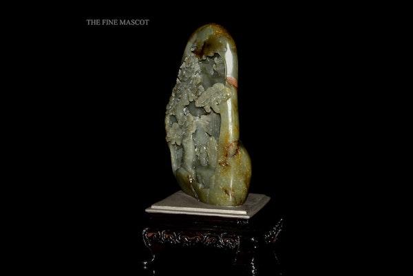 River jade boulder on wooden stand - image 5