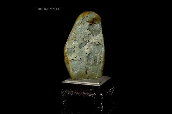 River jade boulder on wooden stand - image 7