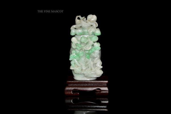 White jadeite monkey perfume vase - image 1