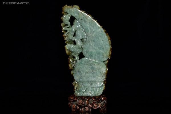 Antique carved jadeite Buddhas boulder - image 5