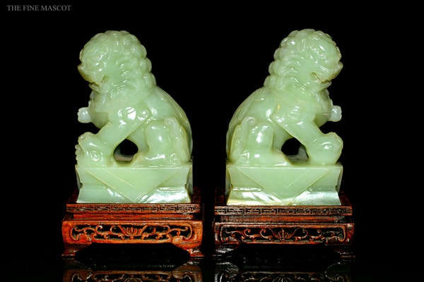 Guardian Lions jade sculptures on stand - image 4