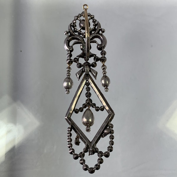 Pair of silver and diamonds earrings - image 2