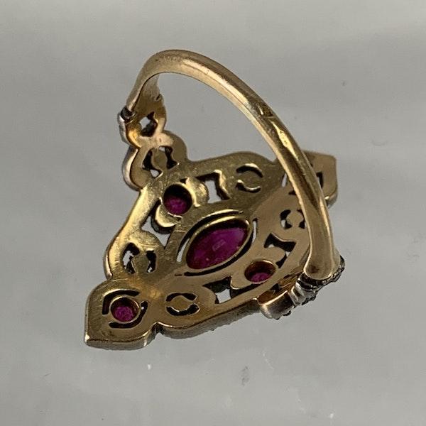 Diamond ring with rubies - image 2