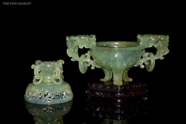 Translucent jade stone carved burner - image 7