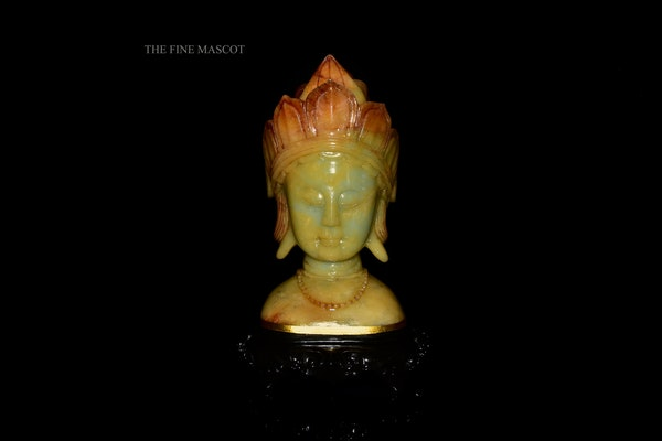 Buddha head carved stone sculpture - image 1