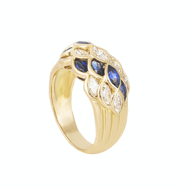 A Sapphire Diamond Lattice Bombé Ring - image 2