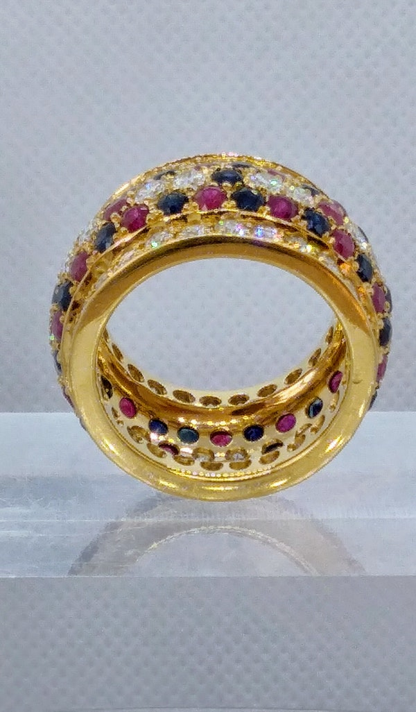 French - Ruby - Diamond - Sapphire -  Cocktail Ring - image 3