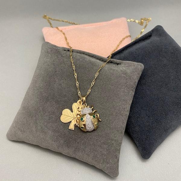 Diamond Emerald 9ct Gold Pendant date circa 1980, Lilly's Attic since 2001 - image 3