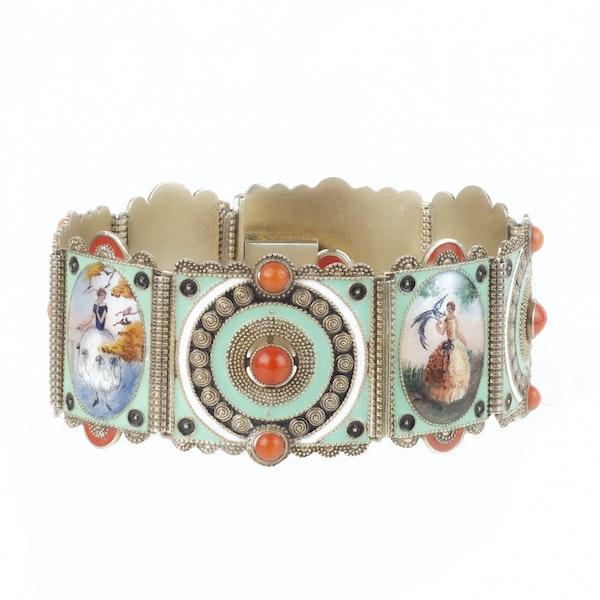 An Austrian Silver Enamel Panel Bracelet - image 2