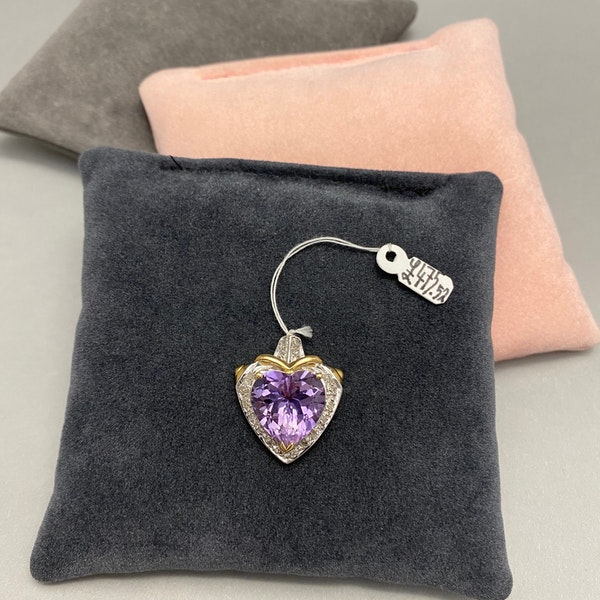 Amethyst Diamond Pendant in 18ct Yellow/White Gold dated London 1991, Lilly's Attic since 2001 - image 2