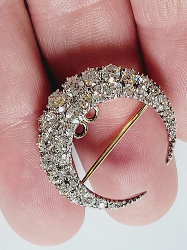 Antique crescent diamond with detachable fittings Sku 5079  DBGEMS - image 2