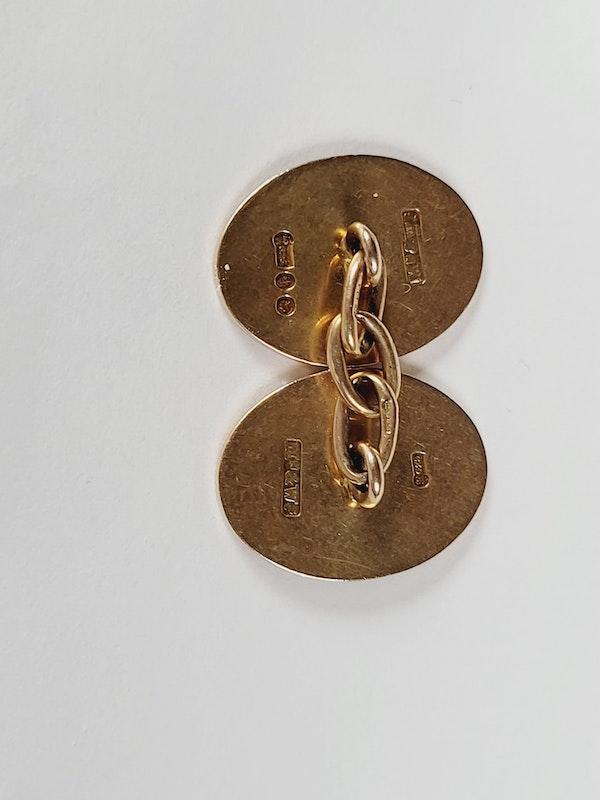 Antique 15ct gold plain oval cufflinks sku 3076 DBGEMS - image 2