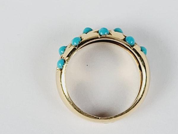 Gypsy set turquoise 18ct gold ring sku 5071  DBGEMS - image 2