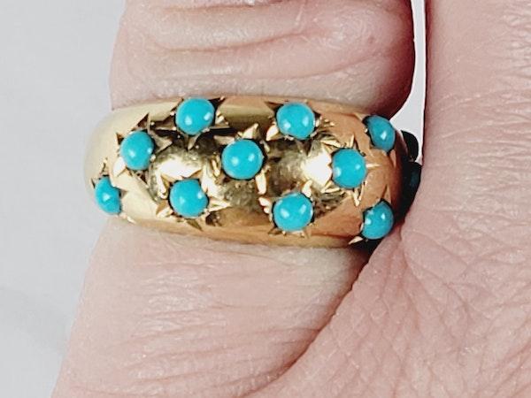 Gypsy set turquoise 18ct gold ring sku 5071  DBGEMS - image 3