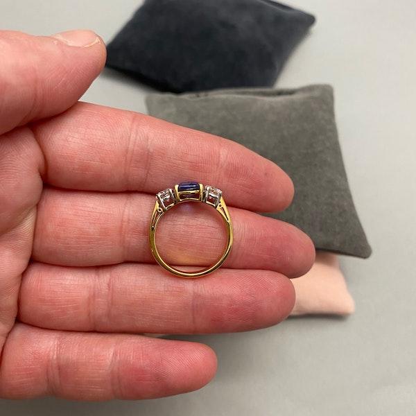 Sapphire Diamond Three Stone Ring in 18ct Yellow/White Gold dated London 1997, SHAPIRO & Co since1979 - image 4