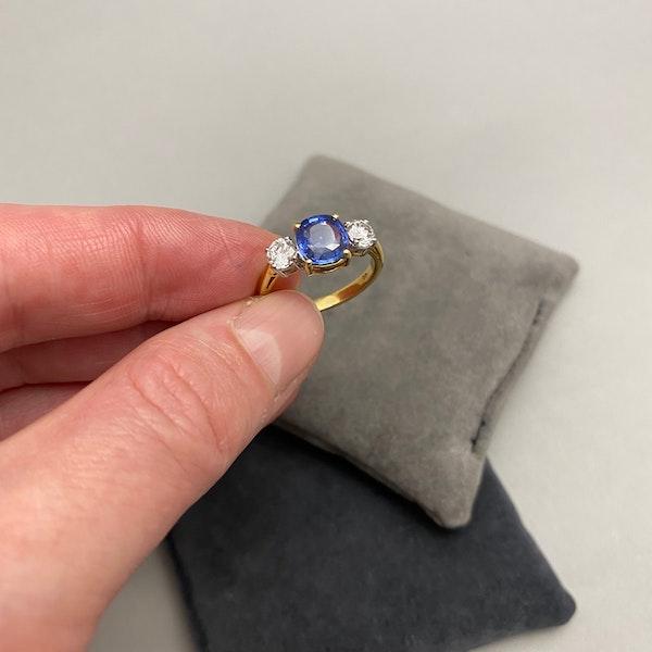 Sapphire Diamond Three Stone Ring in 18ct Yellow/White Gold dated London 1997, SHAPIRO & Co since1979 - image 8