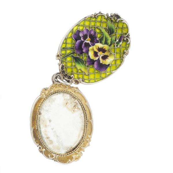 A Silver Enamel Pansy Slide Mirror Locket - image 3