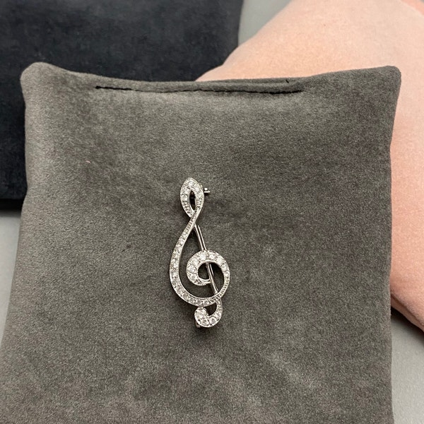 Treble Clef Diamond Brooch in 18ct White Gold dated London 2018, Lilly's Attic since 2001 - image 1