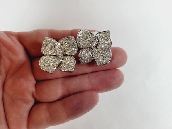 Modern naturalistic bow pave diamond earrings sku 5092  DBGEMS - image 2