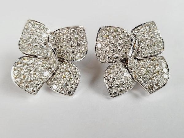 Modern naturalistic bow pave diamond earrings sku 5092  DBGEMS - image 3