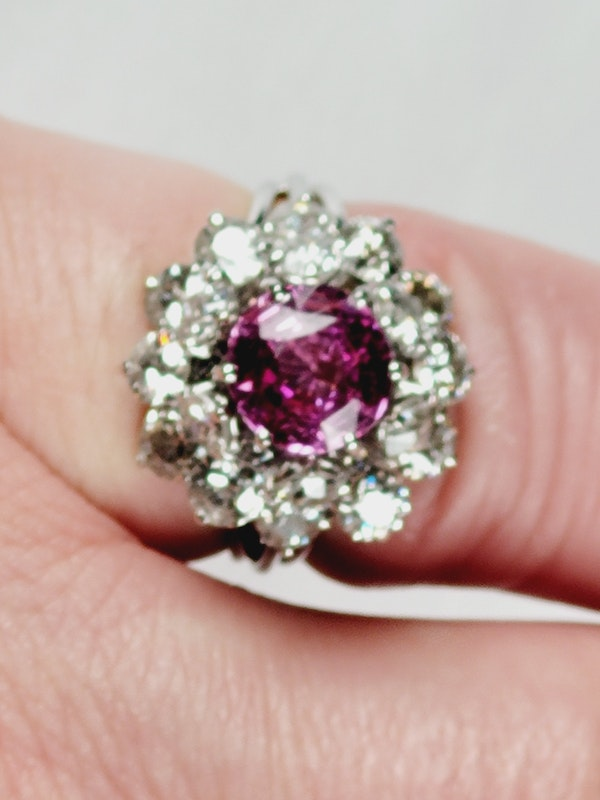 Fantastic French pink sapphire and old cut diamond dress ring Sku 5088  DBGEMS - image 6